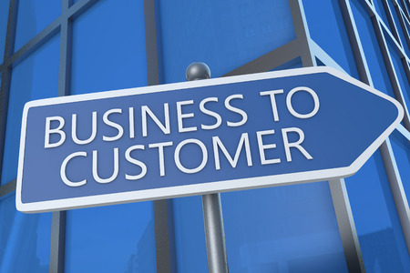 Business to Customer - illustration with street sign in front of office building. illustration