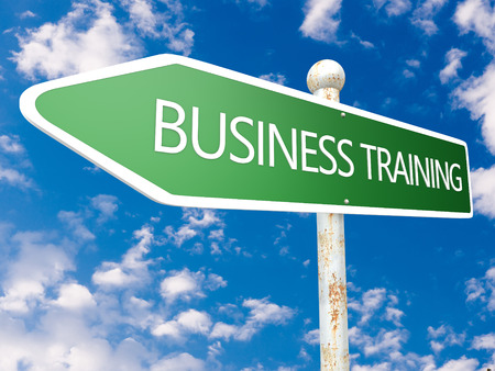 Business Training - street sign illustration in front of blue sky with clouds. illustration