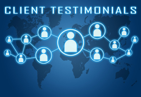 Client Testimonials concept on blue background with world map and social icons.