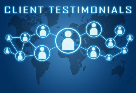 kunden: Kundenempfehlungen Konzept auf blauem Hintergrund mit Weltkarte und sozialen Symbole.