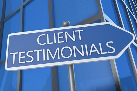 affirmations: Client Testimonials - illustration with street sign in front of office building.
