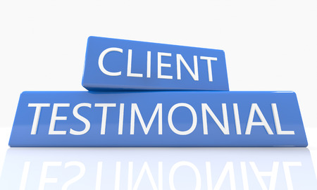 testimonials: 3d render blue box with text Client Testimonial on it on white background with reflection Stock Photo