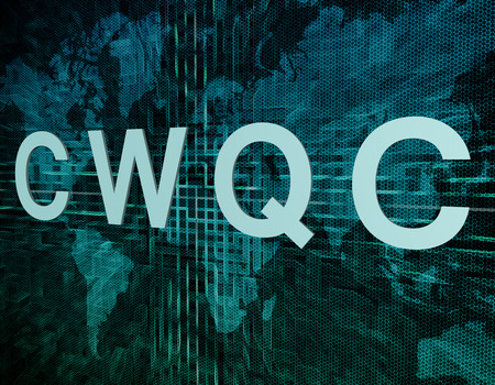 CWQC - Company Wide Quality Control text concept on green digital world map background  photo