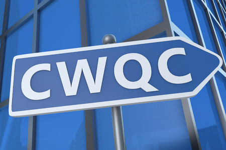 CWQC - Company Wide Quality Control - illustration with street sign in front of office building. illustration