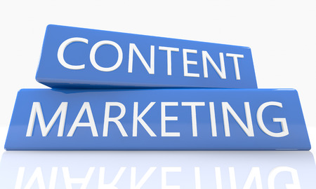 backlink: 3d render blue box with text Content Marketing on it on white background with reflection Stock Photo