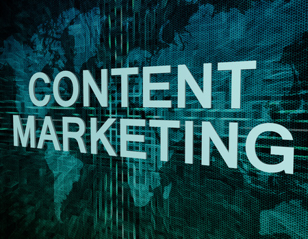 backlink: Content Marketing text concept on green digital world map background  Stock Photo