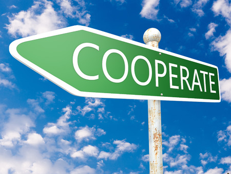 Cooperate - street sign illustration in front of blue sky with clouds. illustration