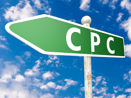 cpc: CPC - Cost per Click - street sign illustration in front of blue sky with clouds.