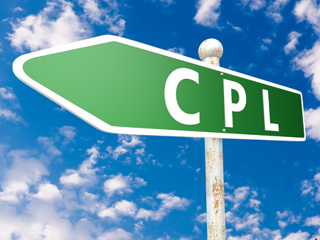 cpl: CPL - Cost per Lead - street sign illustration in front of blue sky with clouds. Stock Photo