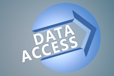 Data Access - 3d text render illustration concept with a arrow in a circle on blue-grey background illustration