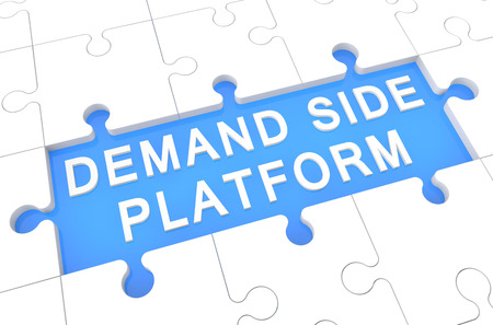 cpc: Demand Side Platform - puzzle 3d render illustration with word on blue background Stock Photo