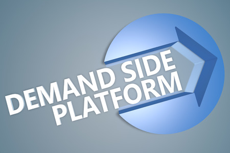 online bidding: Demand Side Platform - 3d text render illustration concept with a arrow in a circle on blue-grey background