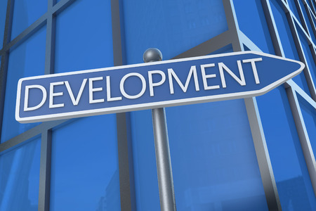 Development - illustration with street sign in front of office building. illustration