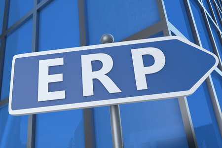 Enterprise Resource Planning - illustration with street sign in front of office building. illustration
