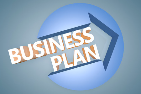 Business Plan - 3d text render illustration concept with a arrow in a circle on blue-grey background illustration