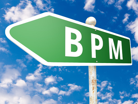 bpm: BPM - Business Process Management - street sign illustration in front of blue sky with clouds.