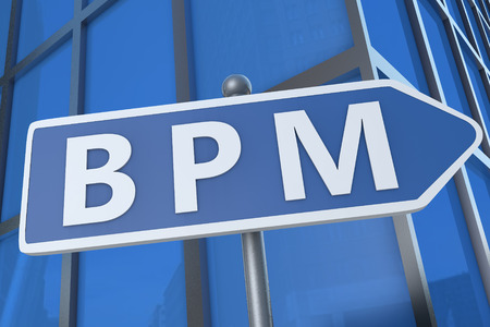 bpm: BPM - Business Process Management - illustration with street sign in front of office building.