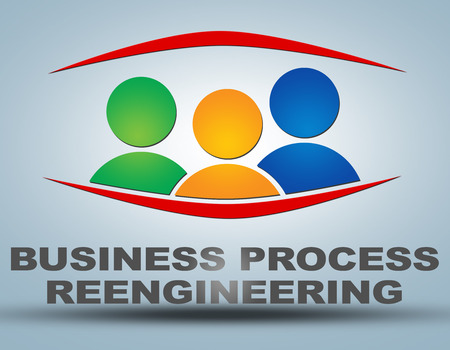 business process reengineering: Business Process Reengineering illustration concept on grey background with group of people icons Stock Photo