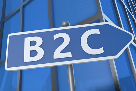 b2c: B2C - Business to Customer - illustration with street sign in front of office building.