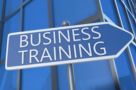 Business Training - illustration with street sign in front of office building. illustration