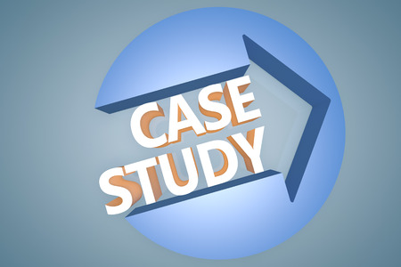 Case Study - 3d text render illustration concept with a arrow in a circle on blue-grey background illustration