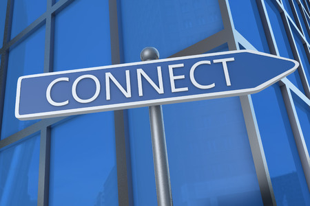 Connect - illustration with street sign in front of office building. illustration