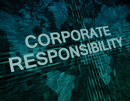 Corporate Responsibility text concept on green digital world map background  photo