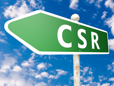 CSR - Corporate Social Responsibility - street sign illustration in front of blue sky with clouds. illustration