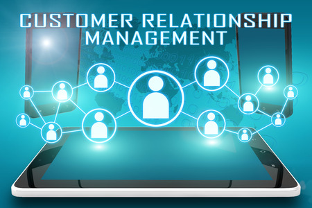 Customer Relationship Management - text illustration with social icons and tablet computer and mobile cellphones on cyan digital world map background illustration