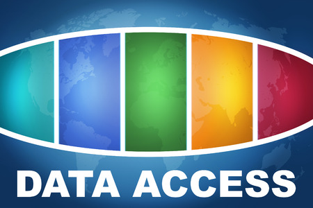 Data Access text illustration concept on blue background with colorful world map illustration