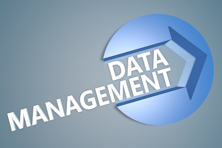 Data Management - 3d text render illustration concept with a arrow in a circle on blue-grey background illustration