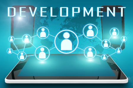 Development - text illustration with social icons and tablet computer and mobile cellphones on cyan digital world map background illustration