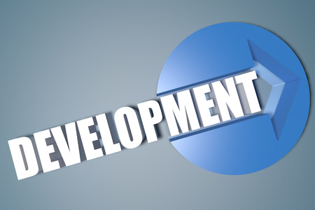 Development - 3d text render illustration concept with a arrow in a circle on blue-grey background illustration