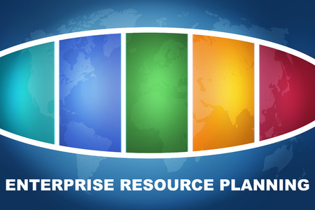 Enterprise Resource Planning text illustration concept on blue background with colorful world map illustration