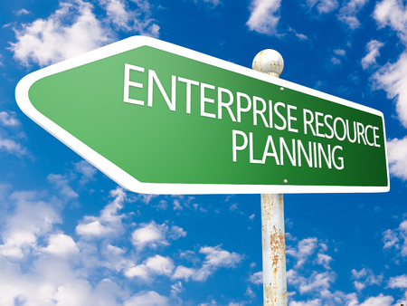 Enterprise Resource Planning - street sign illustration in front of blue sky with clouds. illustration