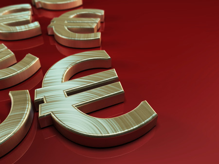 3D illustration with Euro symbol on red background