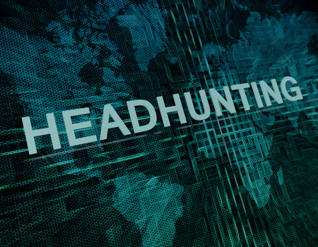 Headhunting text concept on green digital world map background  photo