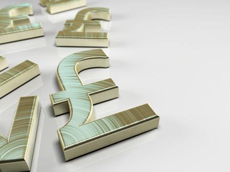 libra esterlina: Ilustración 3D con el símbolo de la libra esterlina en el fondo azul