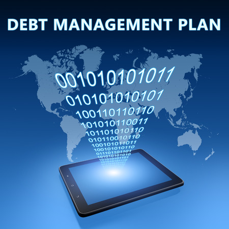 debt management: Debt Management Plan illustration with tablet computer on blue background Stock Photo