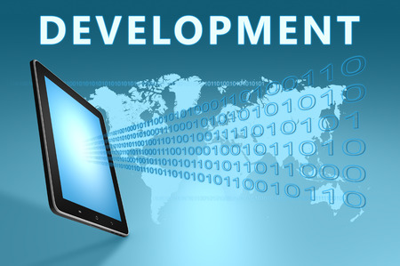 product information: Development illustration with tablet computer on blue background
