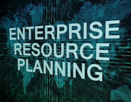 Enterprise Resource Planning text concept on green digital world map background  photo