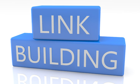 linkbuilding: 3d render blue box with text Linkbuilding on it on white background with reflection