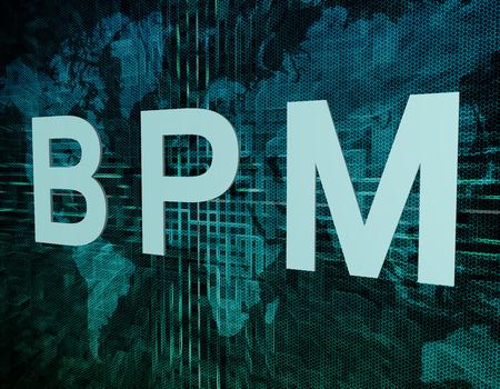 bpm: BPM - Business Process Management text concept on green digital world map background  Stock Photo