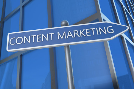backlink: Content Marketing - illustration with street sign in front of office building.