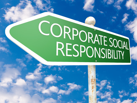 Corporate Social Responsibility - street sign illustration in front of blue sky with clouds. illustration