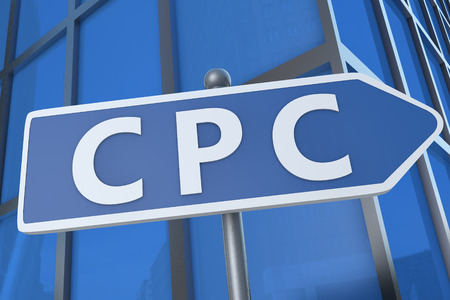 cpc: CPC - Cost per Click - illustration with street sign in front of office building.