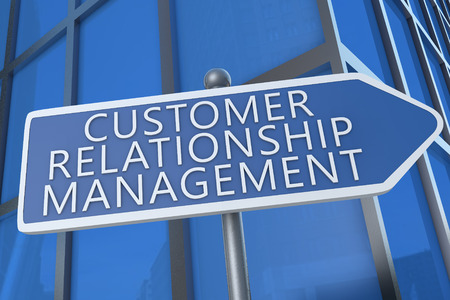 Customer Relationship Management - illustration with street sign in front of office building. illustration