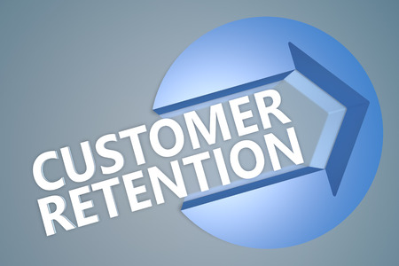 Customer Retention - 3d text render illustration concept with a arrow in a circle on blue-grey background illustration