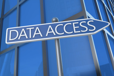 Data Access - illustration with street sign in front of office building. illustration