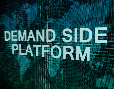 Demand Side Platform text concept on green digital world map background  photo